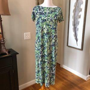 J. Jill Wearever Green White Leaf Palm Dress Maxi